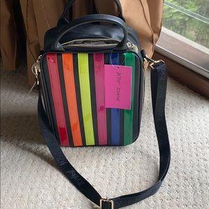 New betsey Johnson lunch bag rainbow stripes